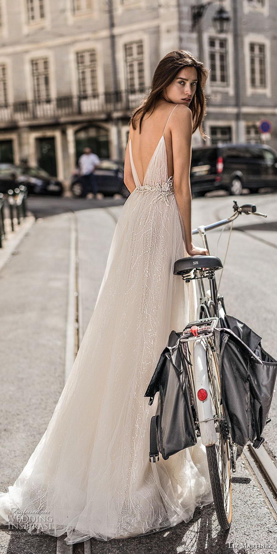 liz martinez 2018 lisbon spaghetti strap deep plunging sweetheart neckline side open romantic sexy soft a line wedding dress open v back sweep train (1) bv
