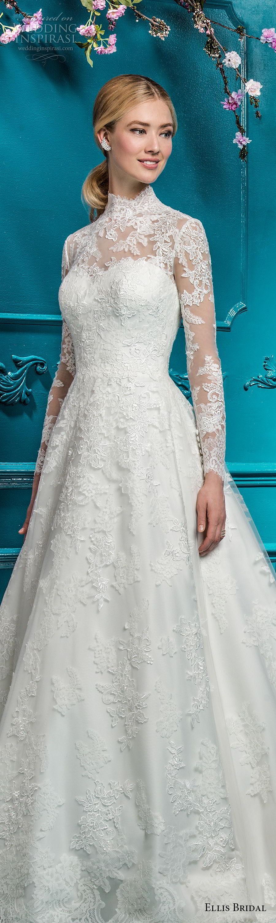 d2aaed755561 ellis bridals 2018 long sleeves illusion high neck sweetheart neckline full  embellishment elegant princess a line