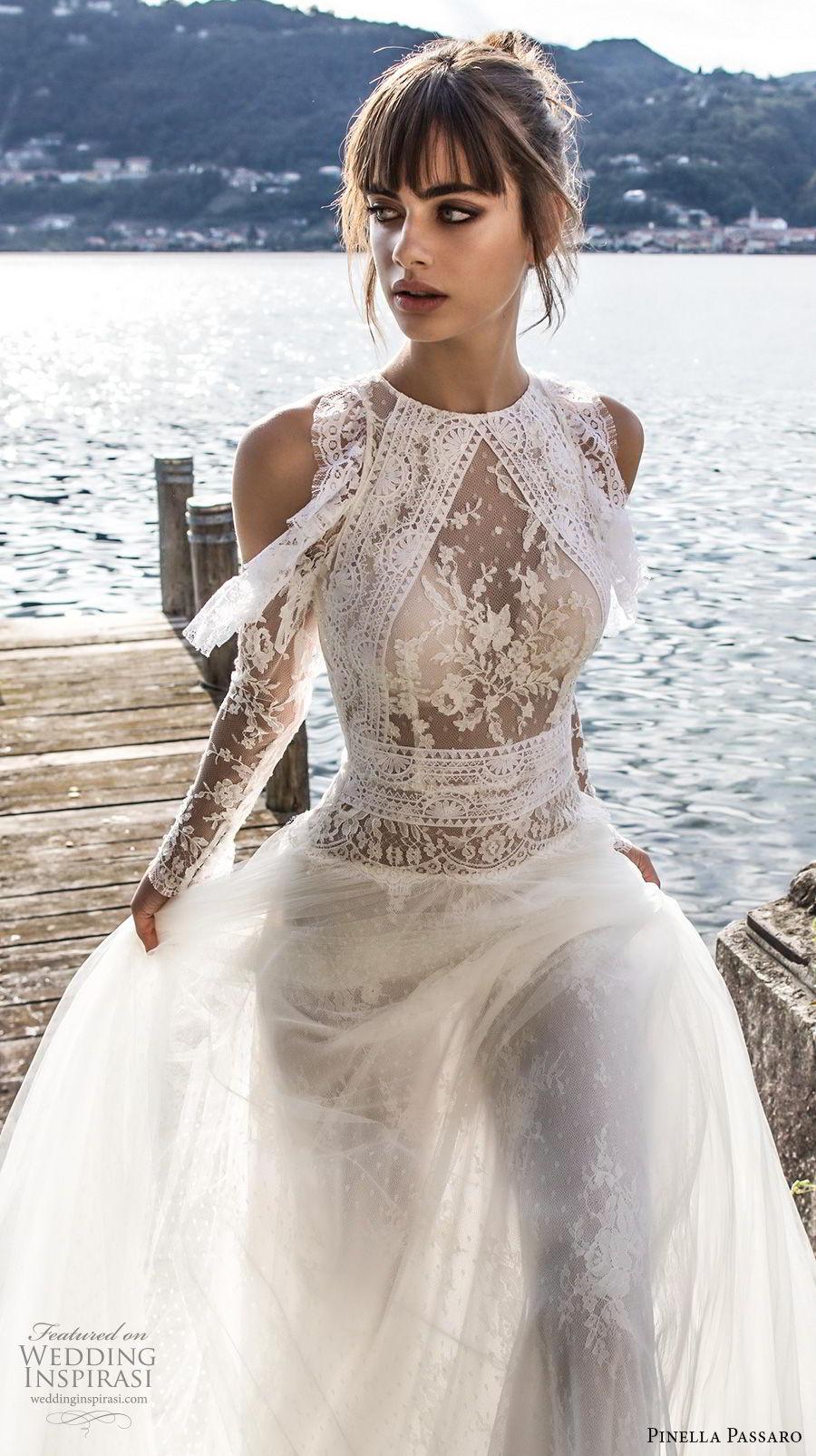 pinella passaro 2018 bridal cold shoulder long sleeves halter neck jewel neck heavily embellished bodice elegant romantic a line wedding dress covered lace back chapel back (7) zv mv