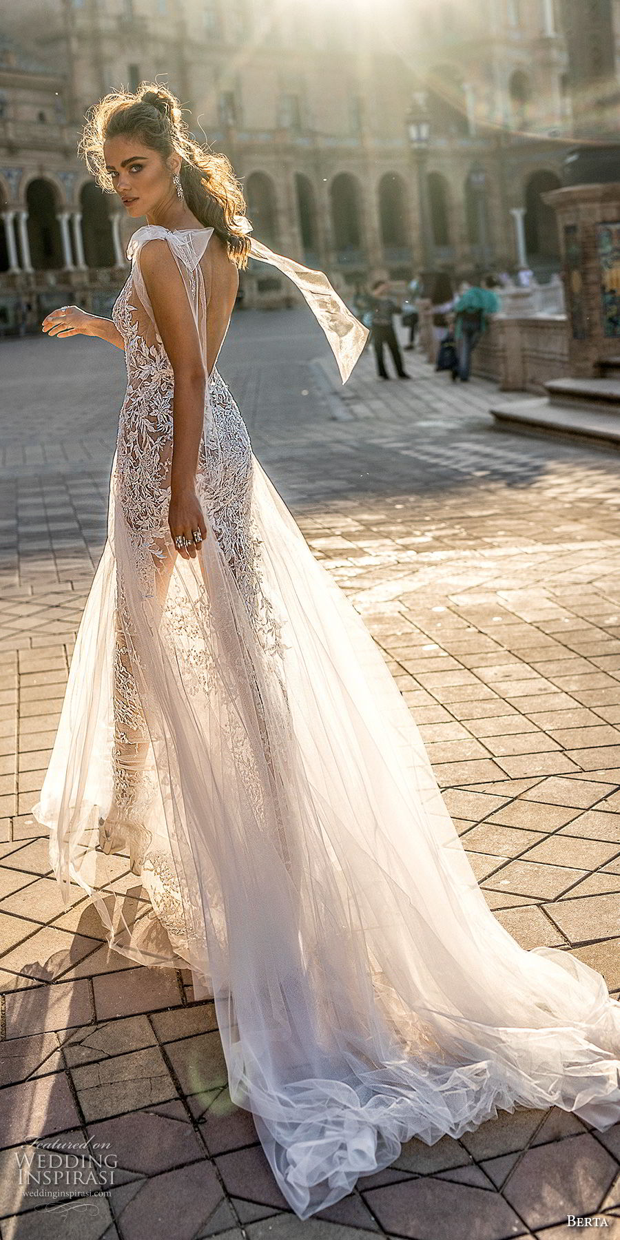 berta fall 2018 bridal cap sleeves deep v neck full embellishment elegant sexy soft a line wedding dress open back chapel train (2) bv