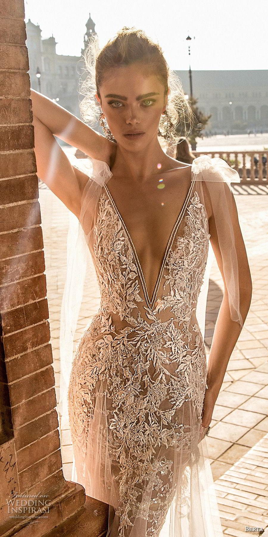 berta fall 2018 bridal cap sleeves deep v neck full embellishment elegant sexy soft a line wedding dress open back chapel train (2) zv