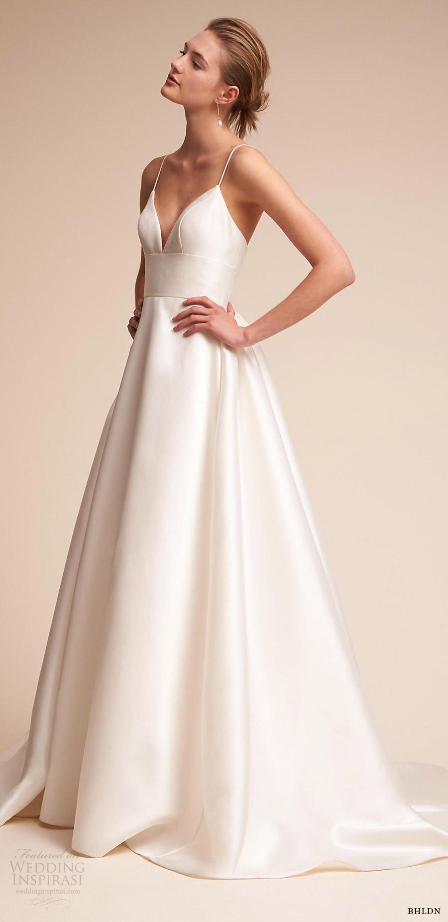 bhldn 2018 bridal trends sleeveless thin straps sweetheart ball gown wedding dress (opal) sv chapel train romantic elegant
