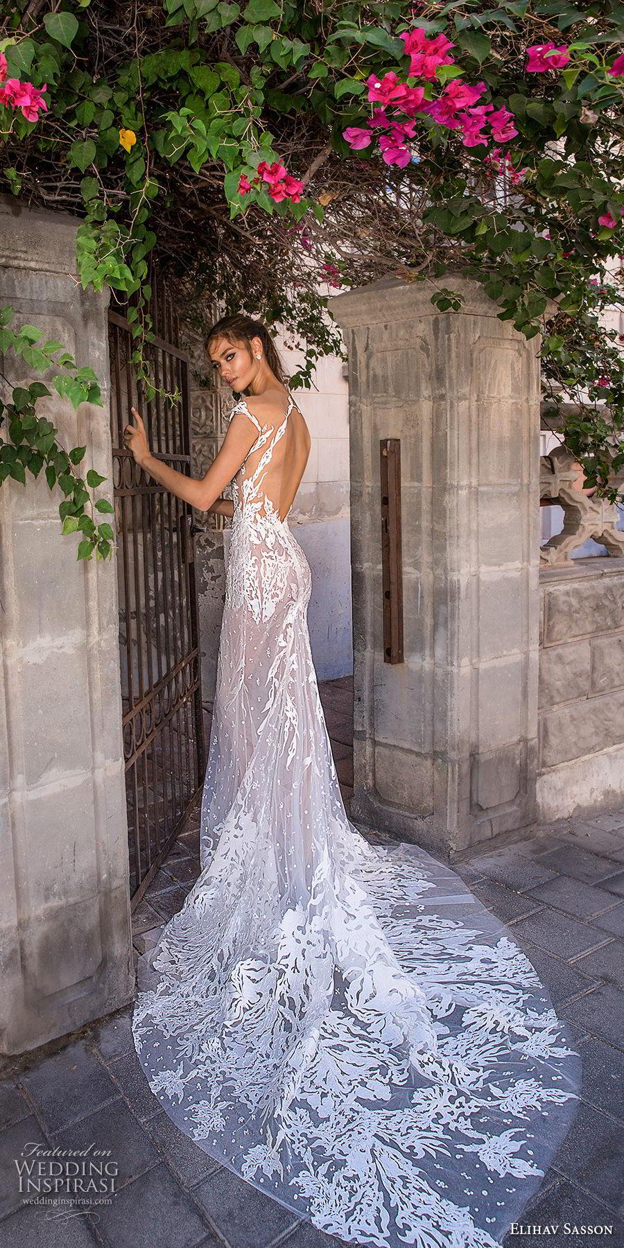 elihav sasson 2018 capsule bridal cap sleeves deep v neck full embellishment sexy modified a line wedding dress open low back medium train (3) bv