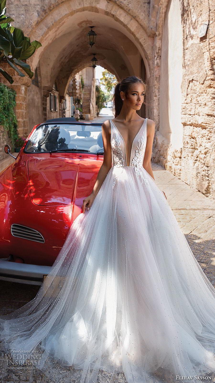 elihav sasson 2018 capsule bridal sleeveless deep plunging v neck heavily embellished bodice tulle skirt romantic soft a line wedding dress chapel train (1) mv