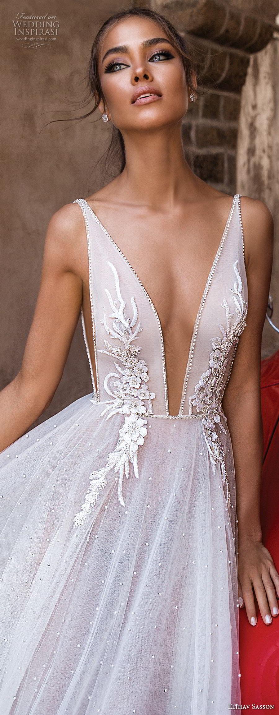 elihav sasson 2018 capsule bridal sleeveless deep plunging v neck heavily embellished bodice tulle skirt romantic soft a line wedding dress chapel train (1) zv