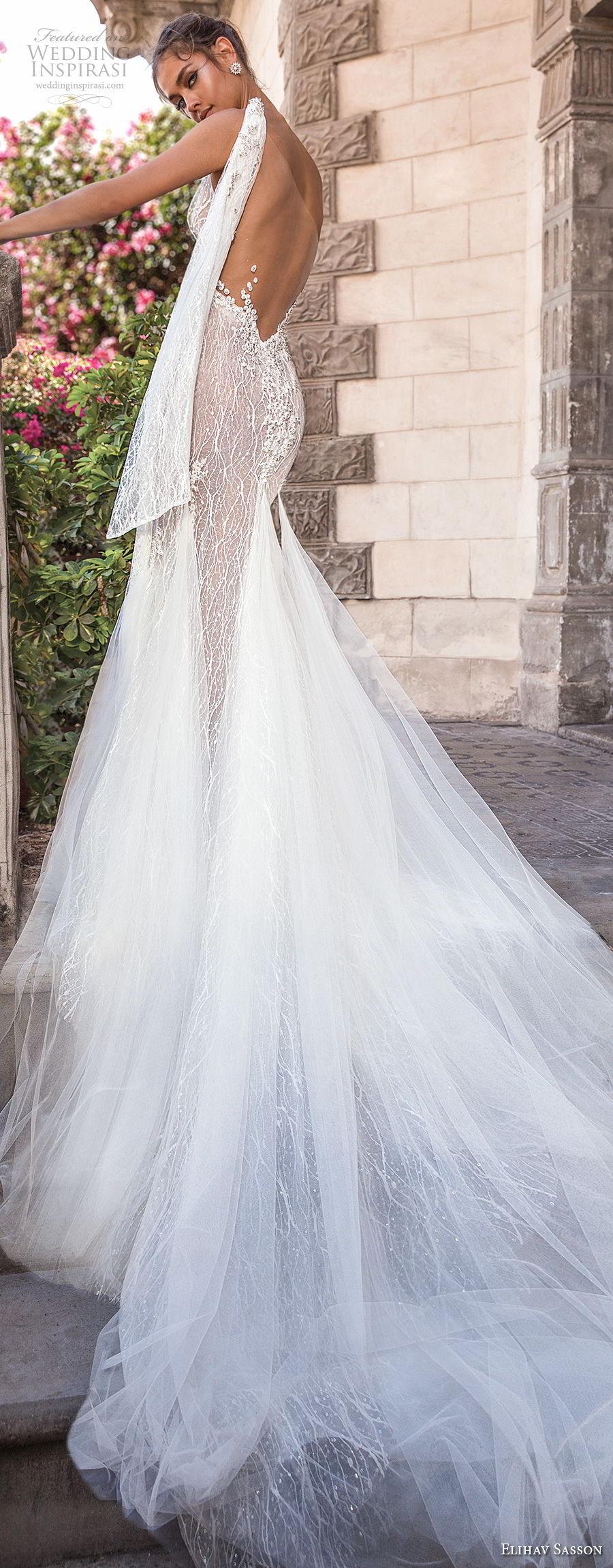 elihav sasson 2018 capsule bridal sleeveless one shoulder full embellishment high slit romantic sexy soft a line wedding dress low open back chapel train (2) bv