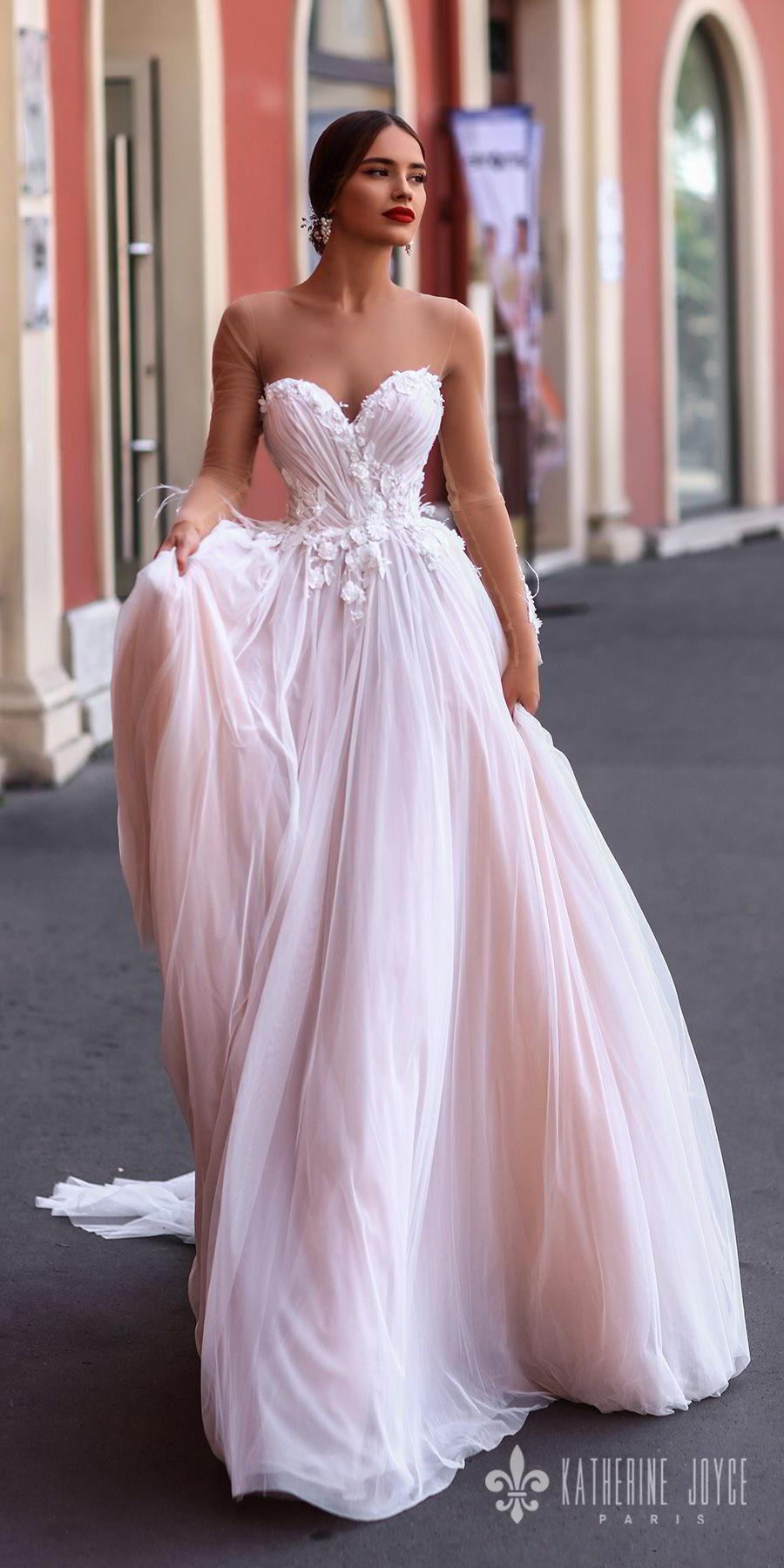 b3b742bccad7 katherine joyce 2018 sheer long sleeves illusion bateau strapless sweetheart  neckline heavily embellished bodice romantic pink