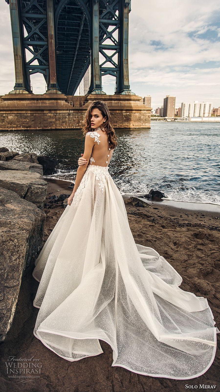 e089bad9c187 solo merav 2018 bridal cap sleeves high neck deep v neck heavily embellished  bodice princess a