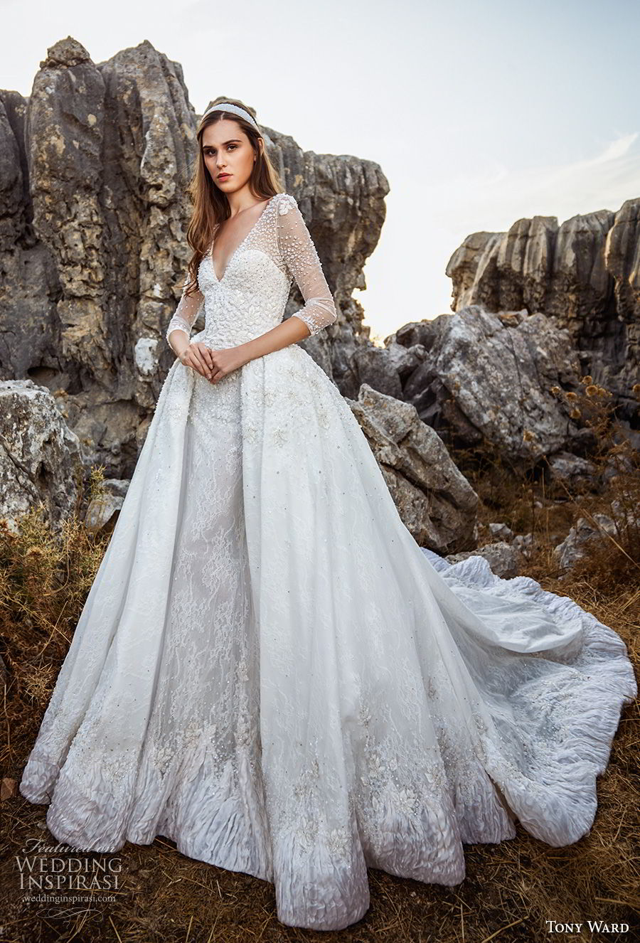 tony ward fall 2018 bridal three quarter sleeves v neck heavily embellished bodice romantic princess ball gown a line wedding dress overskirt chapel train (2) mv