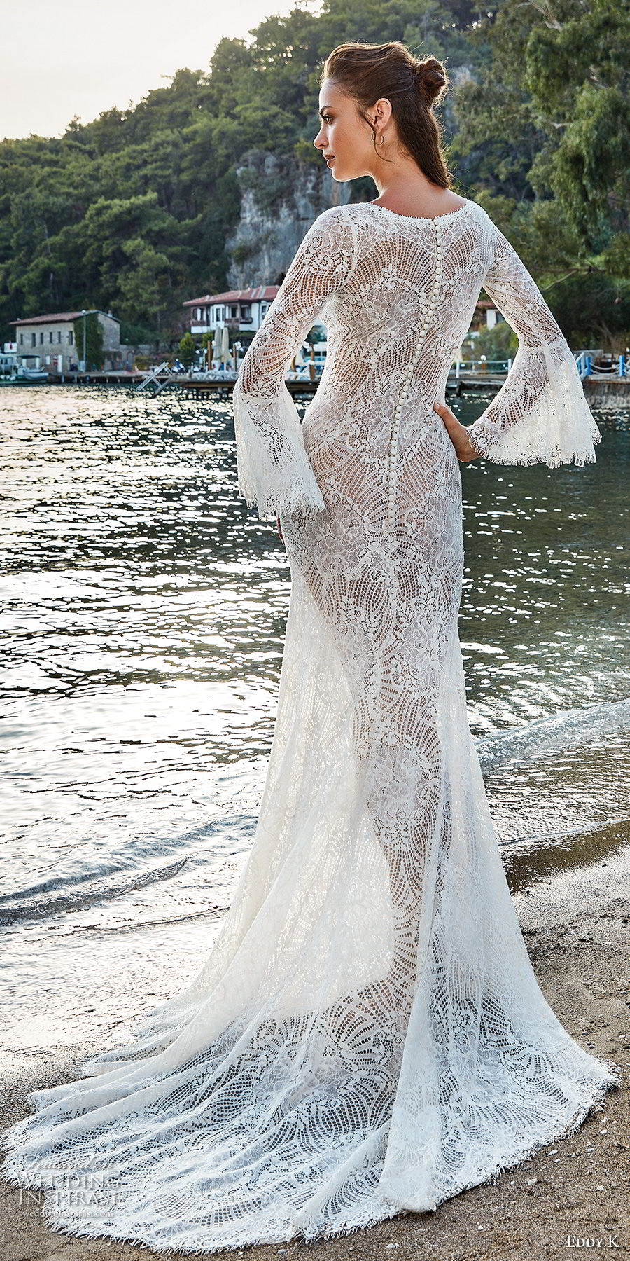 eddy k 2018 bridal long bell sleeves bateau neck full embellishment elegant lace fit and flare wedding dress lace back sweep train (1) bv
