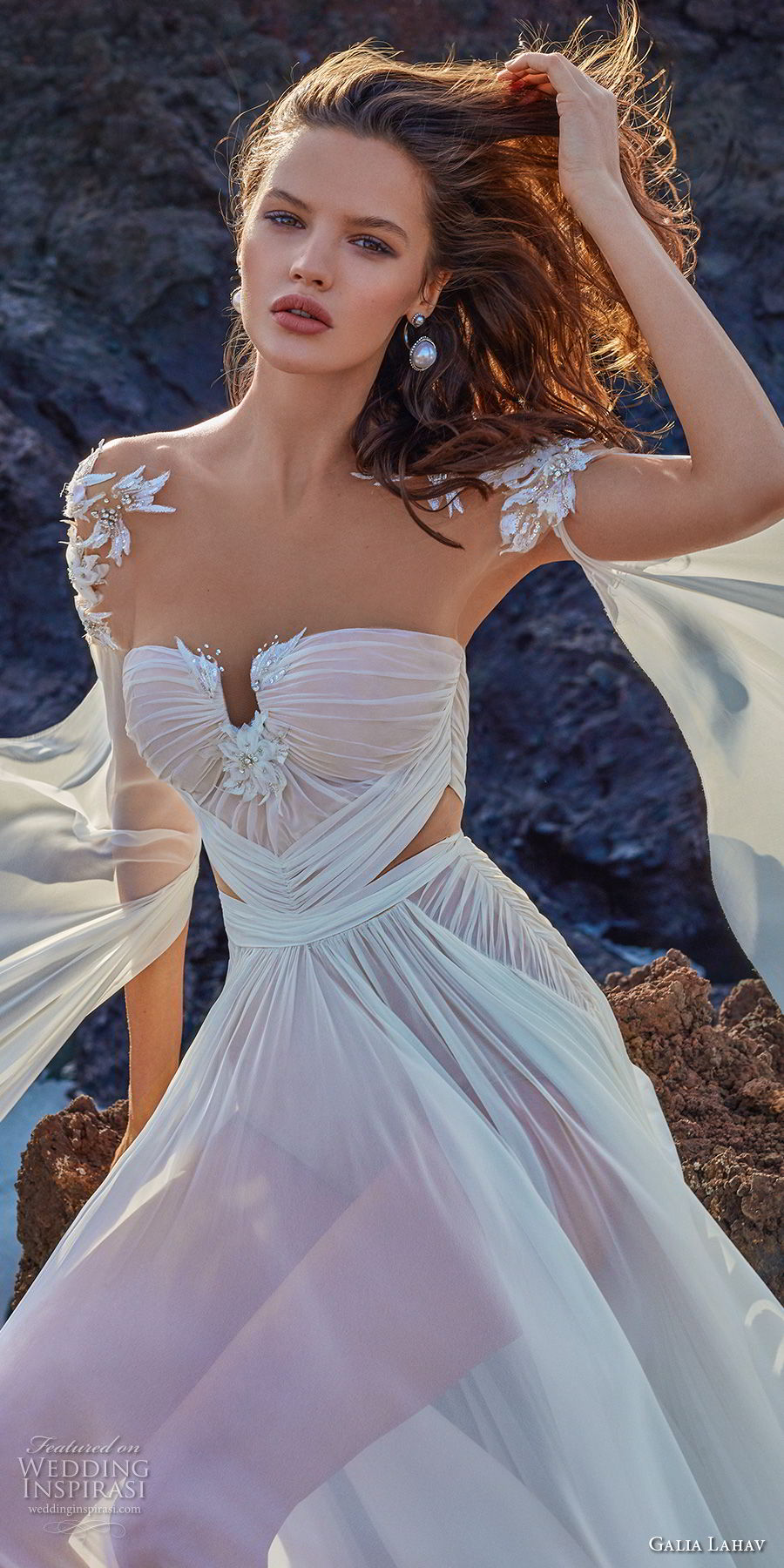 galia lahav gala 2018 bridal hanging sleeves sweetheart neckline ruched bodice romantic grecian soft a line wedding dress chapel train (1) zv