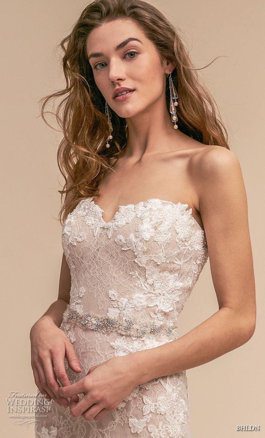 bhldn 2018 whispers bridal strapless sweetheart neckline full embellishment romantic blush mermaid weddinbg dress chapel train (3) zv