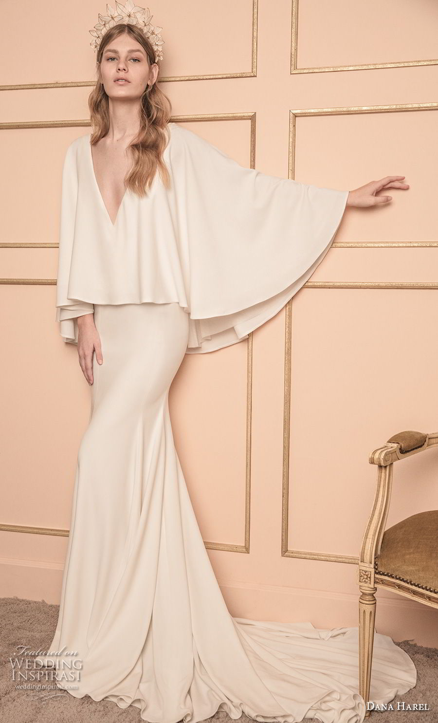 dana harel 2018 bridal long sleeves deep v neck poncho top simple clean modern fit and flare wedding dress chapel train (3) mv