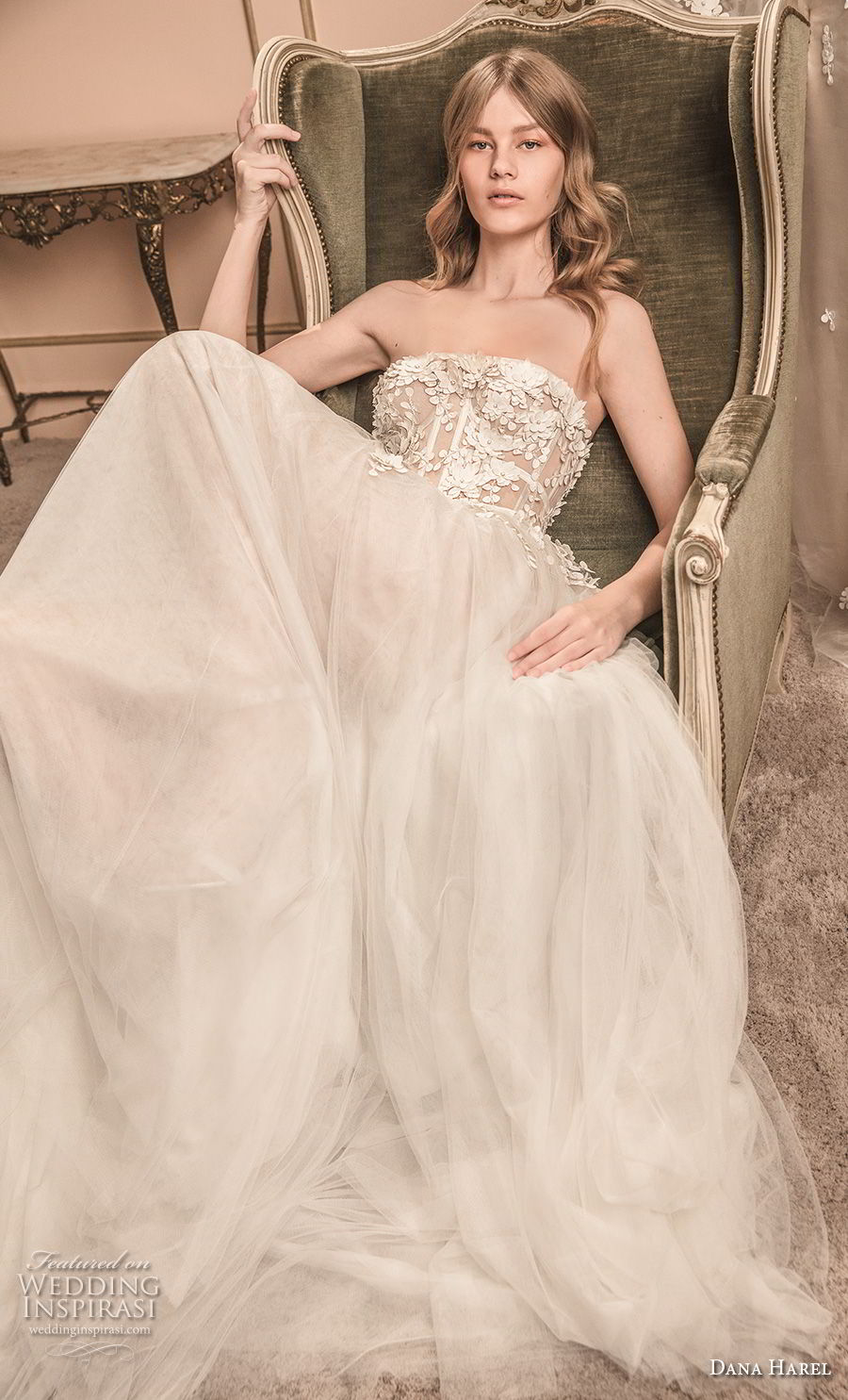 dana harel 2018 bridal strapless sweetheart neckline heavily embellished bodice tulle skirt romantic soft a line wedding dress chapel train (1) mv