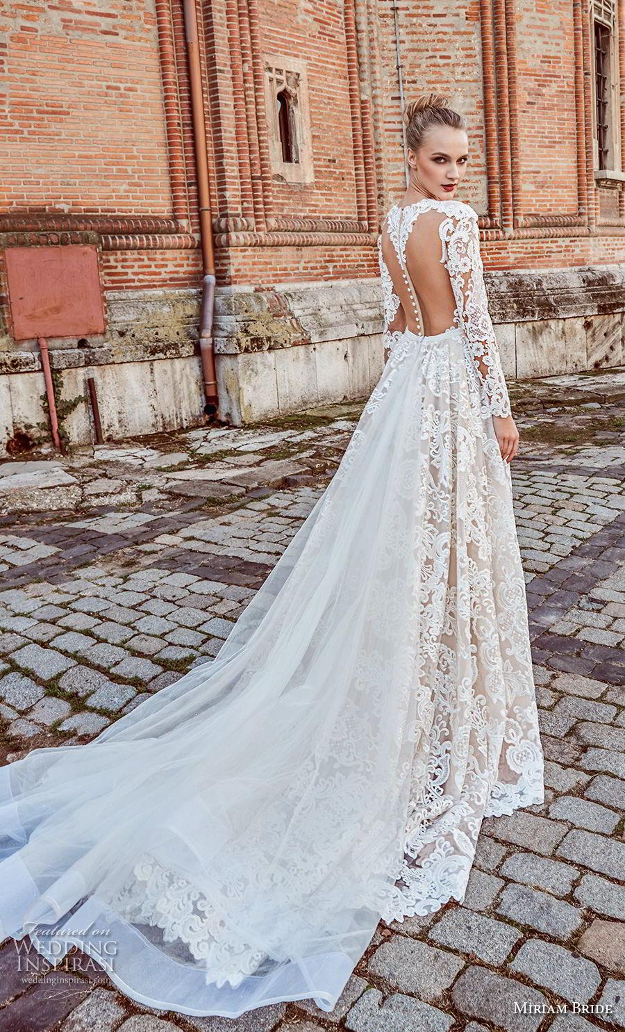 miriams bride 2018 bridal long sleeves deep v neck full embellishment glamorous elegant fit and flare wedding dress a line overskirt sheer button back royal train (4) bv