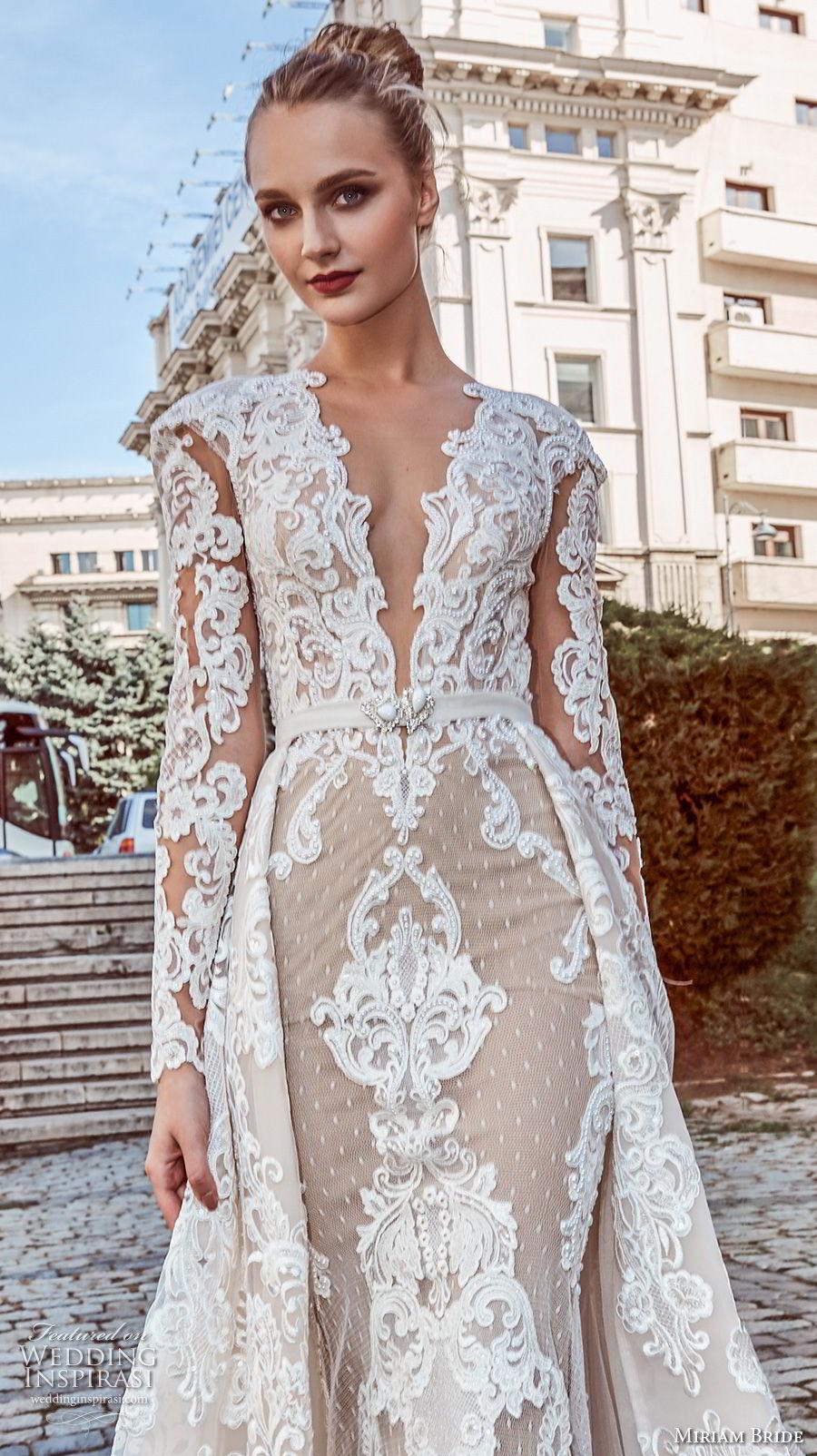 miriams bride 2018 bridal long sleeves deep v neck full embellishment glamorous elegant fit and flare wedding dress a line overskirt sheer button back royal train (4) zv