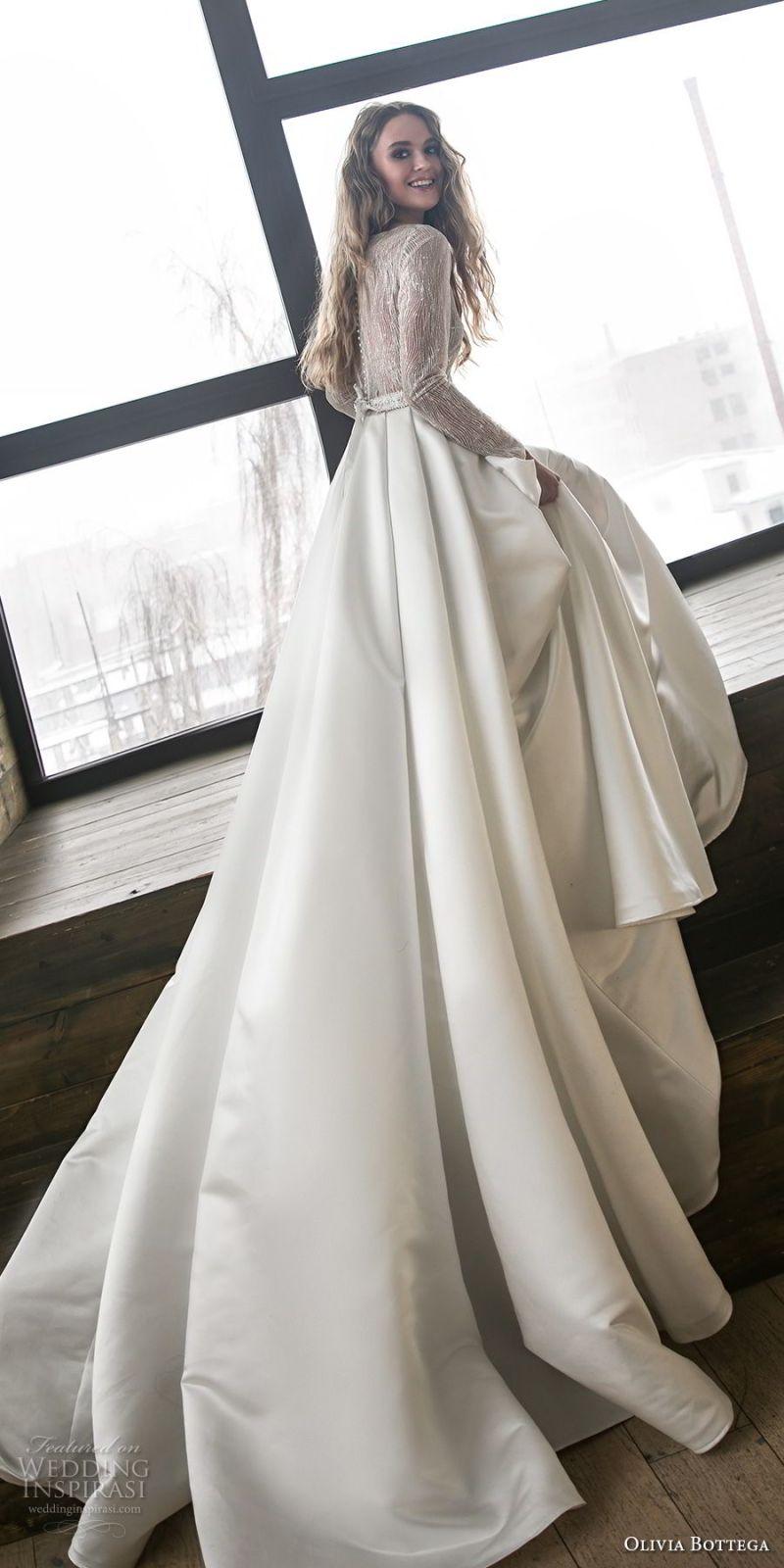 olivia bottega 2018 bridal long sleeves bateau neckline heavily embellished bodice satin skirt elegant a  line wedding dress chapel train (9) bv