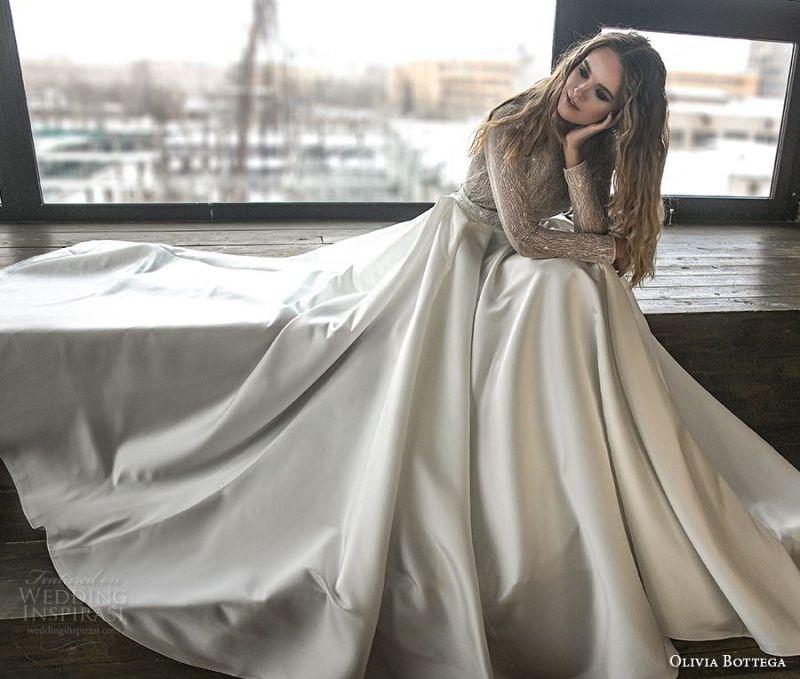 olivia bottega 2018 bridal long sleeves bateau neckline heavily embellished bodice satin skirt elegant a  line wedding dress chapel train (9) mv