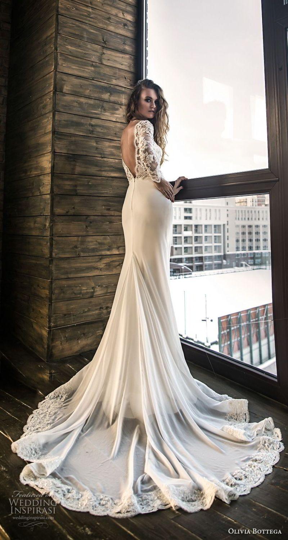 olivia bottega 2018 bridal long sleeves illusion bateau sweetheart neckline heavily embellished bodice elegant fit and flare wedding dress v back chapel train (7) bv