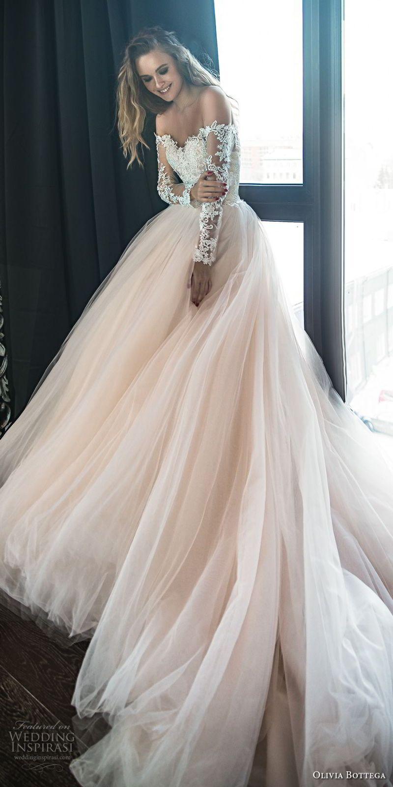 olivia bottega 2018 bridal long sleeves off the shoulder sweetheart neckline heavily embellished bodice princess romantic blush ball gown wedding dress royal train (1) mv