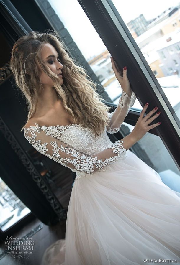 olivia bottega 2018 bridal long sleeves off the shoulder sweetheart neckline heavily embellished bodice princess romantic blush ball gown wedding dress royal train (1) zv