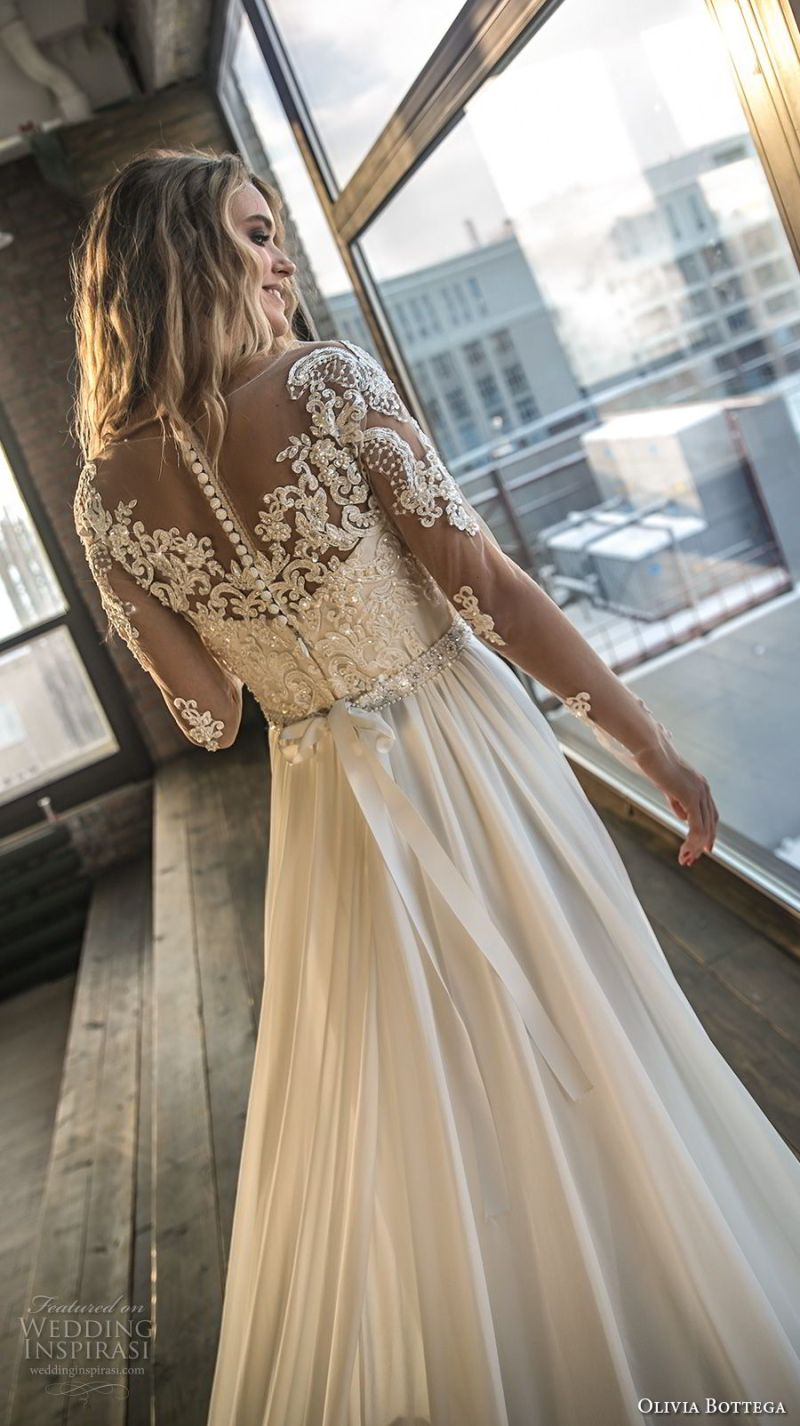 olivia bottega 2018 bridal long sleeves sweetheart neckline heavily embellished bodice side slit elegant a  line wedding dress lace button back chapel train (3) bv