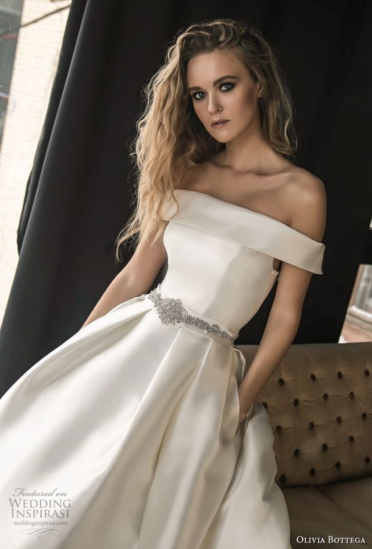 olivia bottega 2018 bridal off the shoulder straight across neckline simple clean elegant classic elegant ball gown a  line weding dress with pockets chapel train (5) zv