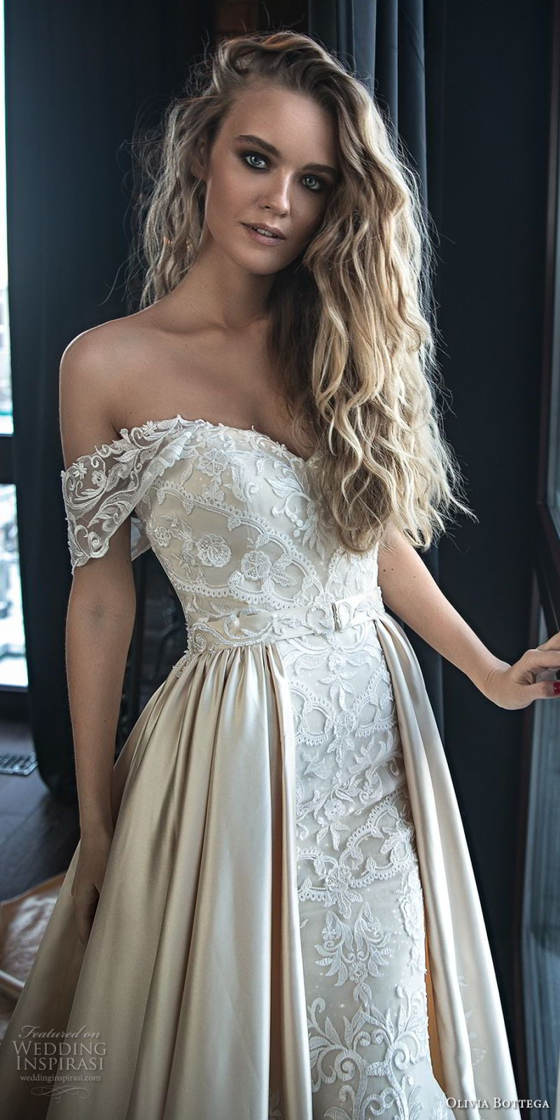 olivia bottega 2018 bridal off the shoulder sweetheart neckline full embellishment elegant romantic fit and flare wedding dress a  line overskirt chapel train (11) zv
