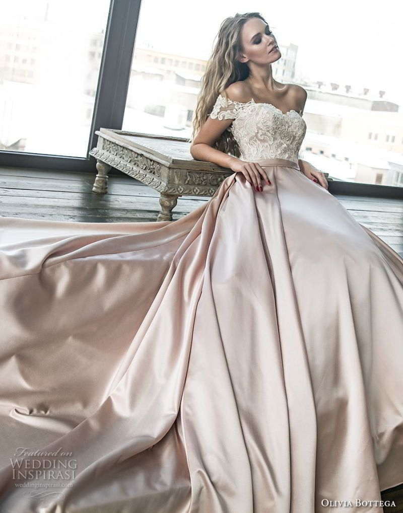 olivia bottega 2018 bridal off the shoulder sweetheart neckline heavily embellished bodice satin skirt romantic a  line wedding dress chapel train (10) mv