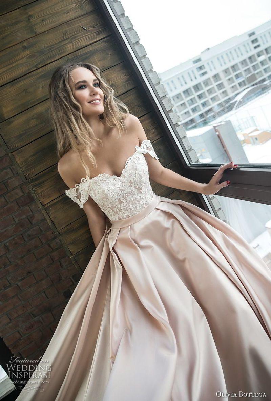 olivia bottega 2018 bridal off the shoulder sweetheart neckline heavily embellished bodice satin skirt romantic a  line wedding dress chapel train (10) zv