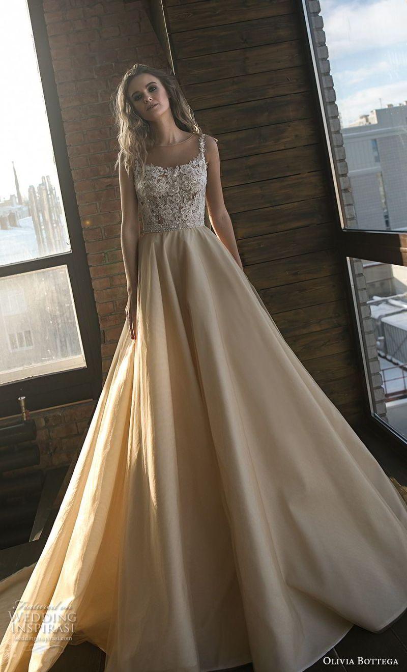 olivia bottega 2018 bridal sleeveless square neckline heavily embellished bodice romantic champagne colr a  line wedding dress royal train (2) mv