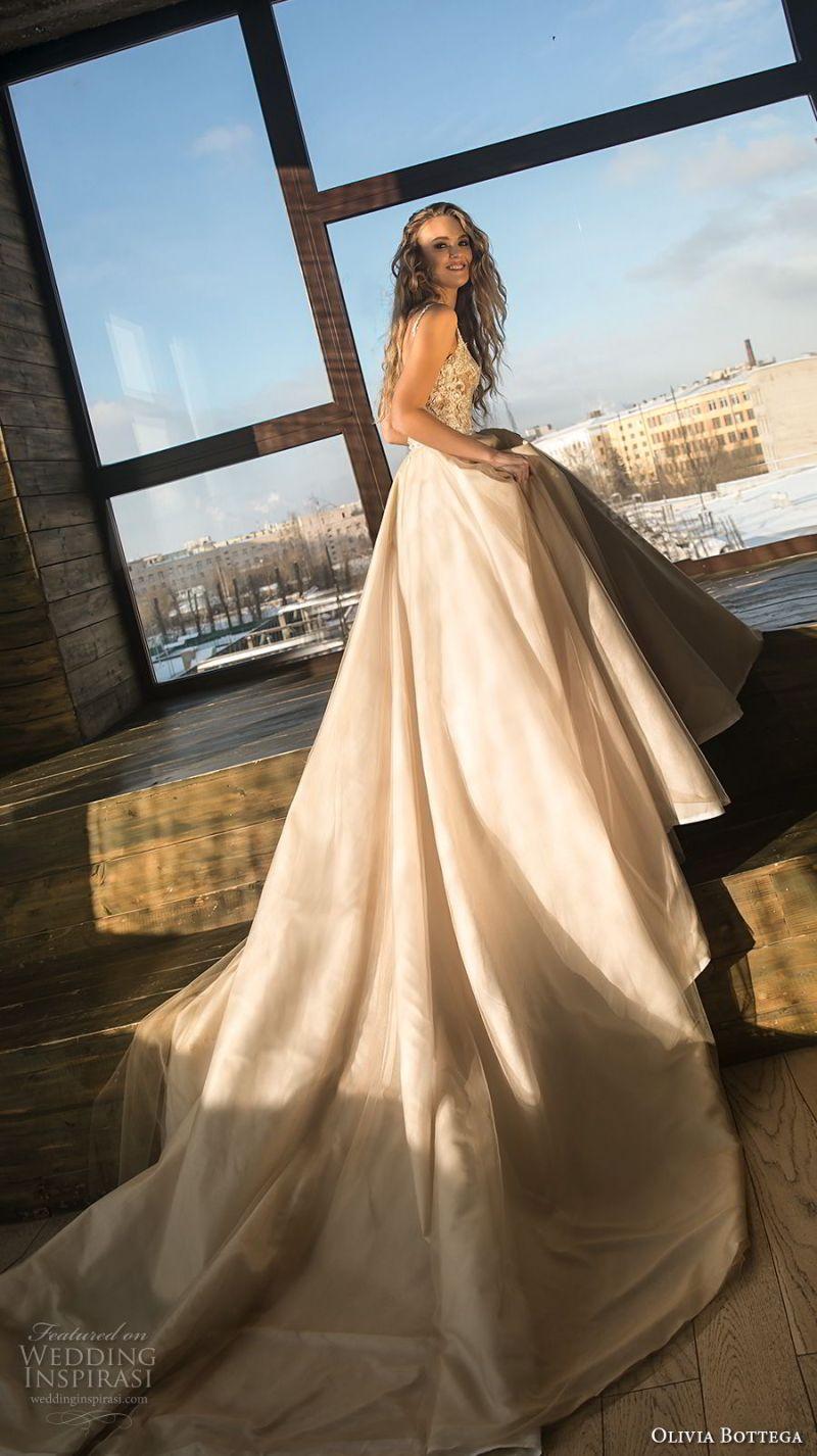 olivia bottega 2018 bridal sleeveless square neckline heavily embellished bodice romantic champagne colr a  line wedding dress royal train (2) sdv