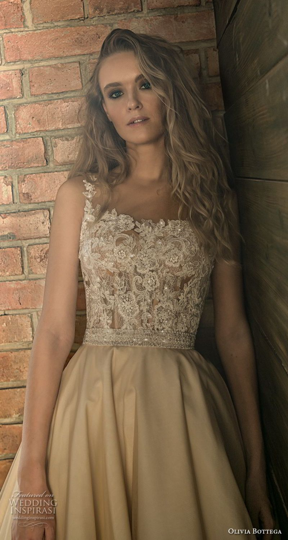 olivia bottega 2018 bridal sleeveless square neckline heavily embellished bodice romantic champagne colr a  line wedding dress royal train (2) zv