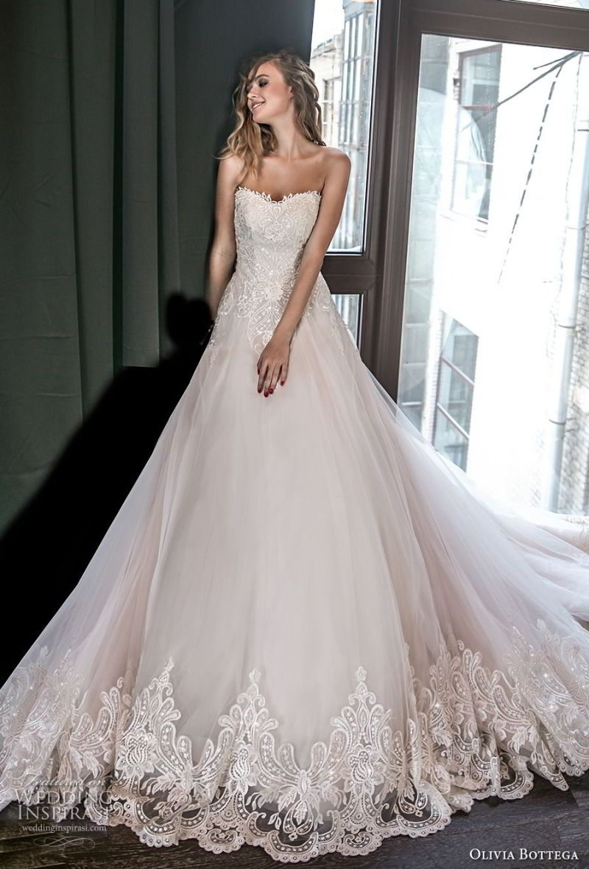 olivia bottega 2018 bridal strapless sweetheart neckline heavily embellished bodice romantic blush a  line wedding dress chapel train (8) mv