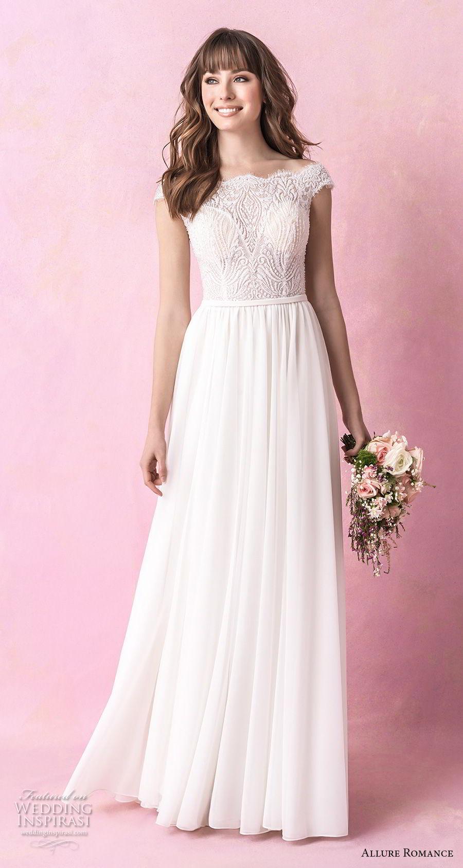 allure romance fall 2018 bridal off the shoulder straight across heavily embellished bodice romantic soft a line wedding dress full lace back chapel train (2) mv