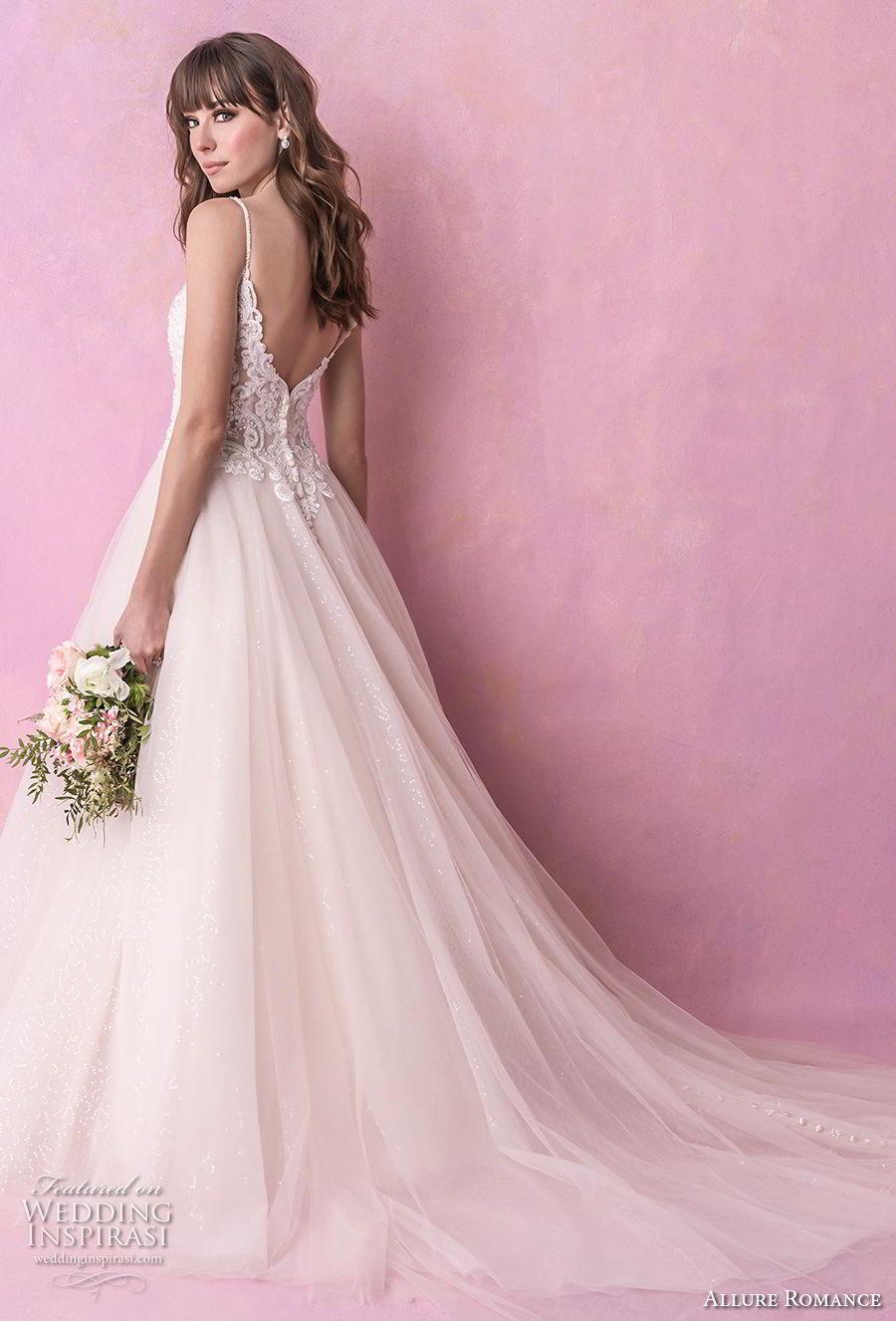 allure romance fall 2018 bridal spaghetti strap sweetheart neckline heavily embellished bodice tulle skirt romantic soft a line wedding dress open v back chapel train (1) bv