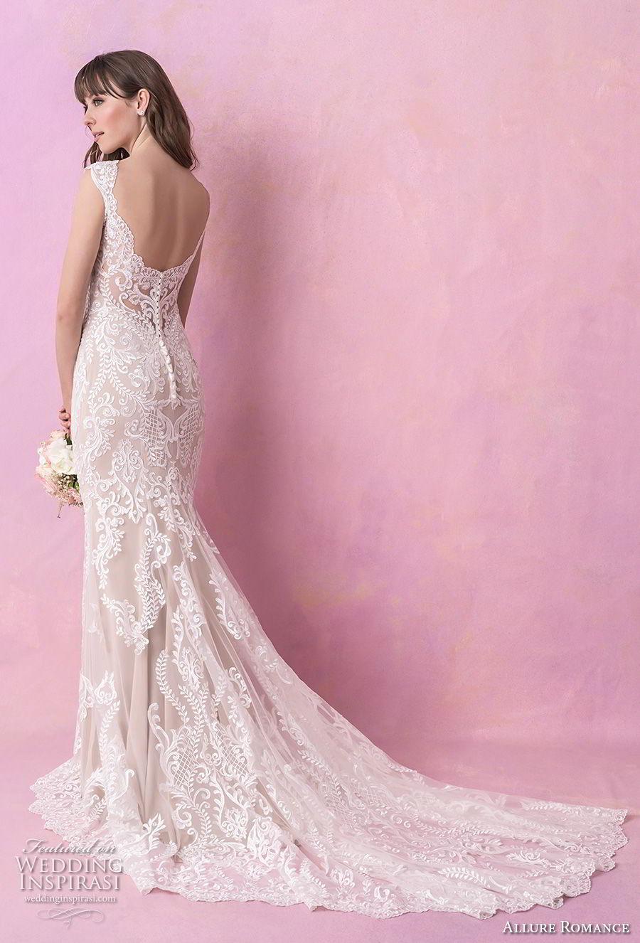 allure romance fall 2018 bridal thick strap v neck full embellishment elegant sheath wedding dress open scoop back chapel train (4) bv