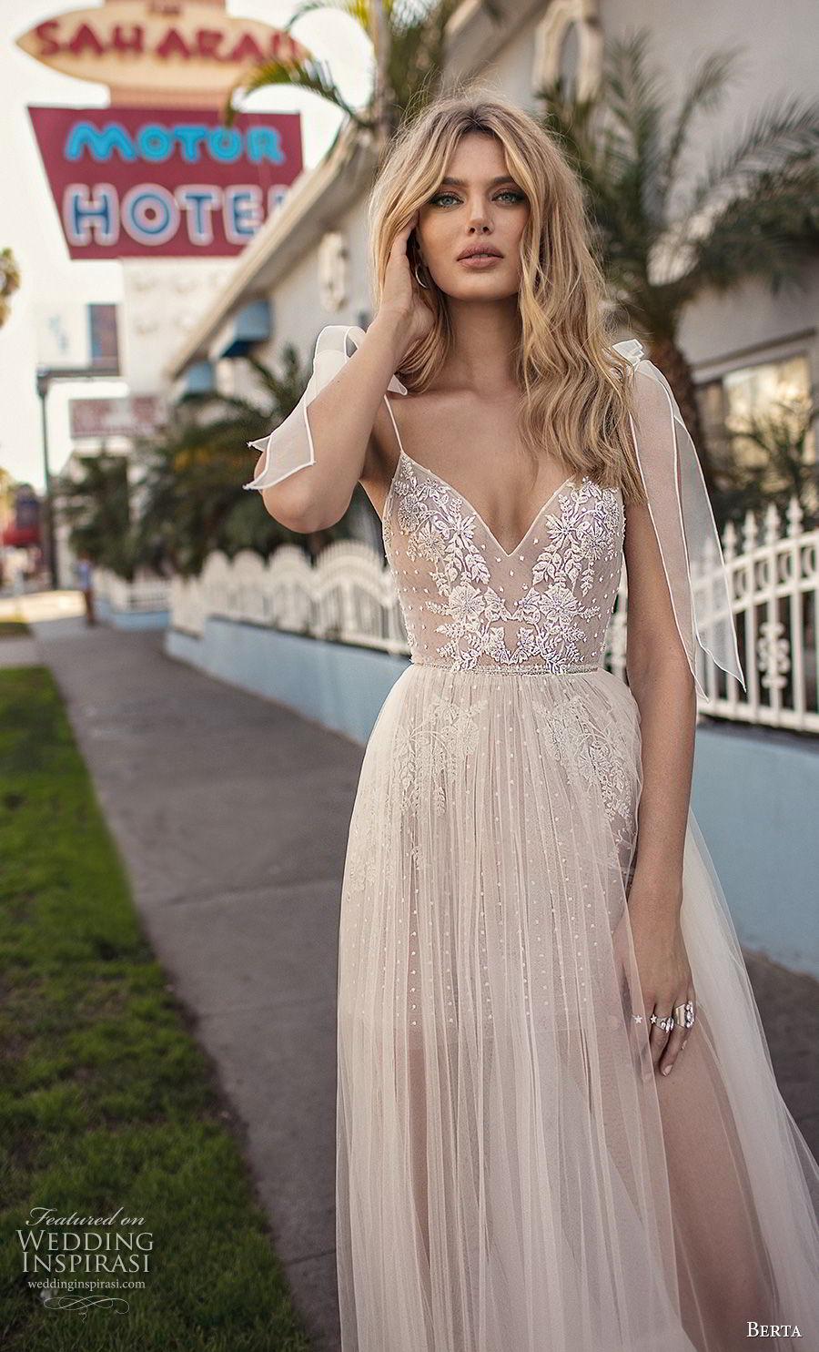 berta 2019 muse bridal sleeveless spaghetti strap diamond neck heavily embellished bodice slit skirt romantic soft a line wedding dress scoop back sweep train (4) zv