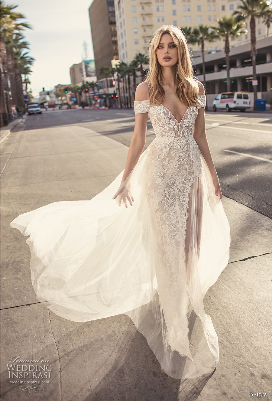 berta 2019 muse bridal spaghetti strap cold shoulder v neck full embellishment romantic soft a line wedding dress scoop back sweep train (1) mv