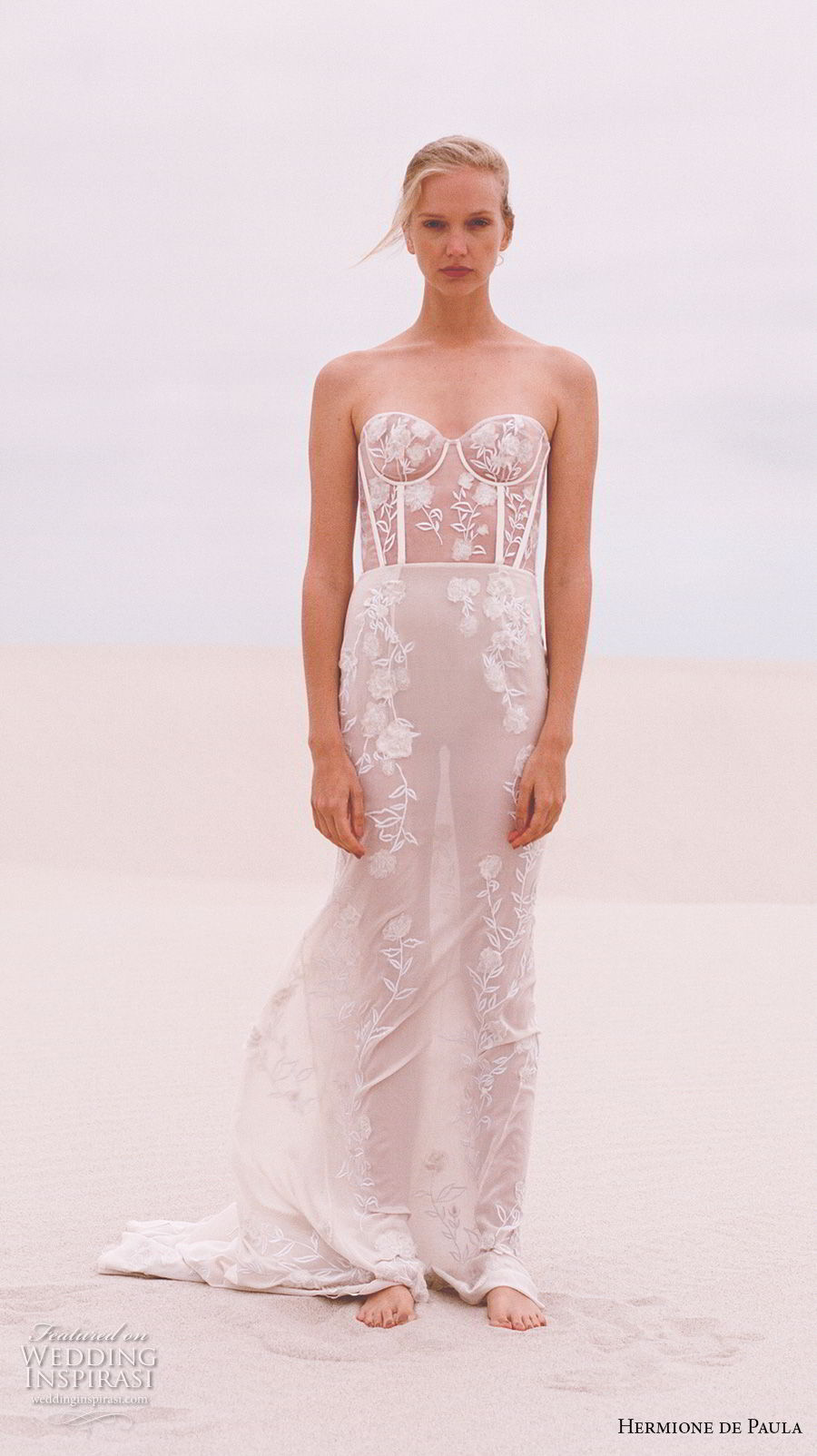 hermione de paula spring 2019 bridal strapless sweetheart neckline full embellishment bustier sexy romantic soft a line wedding dress sweep train (2) mv
