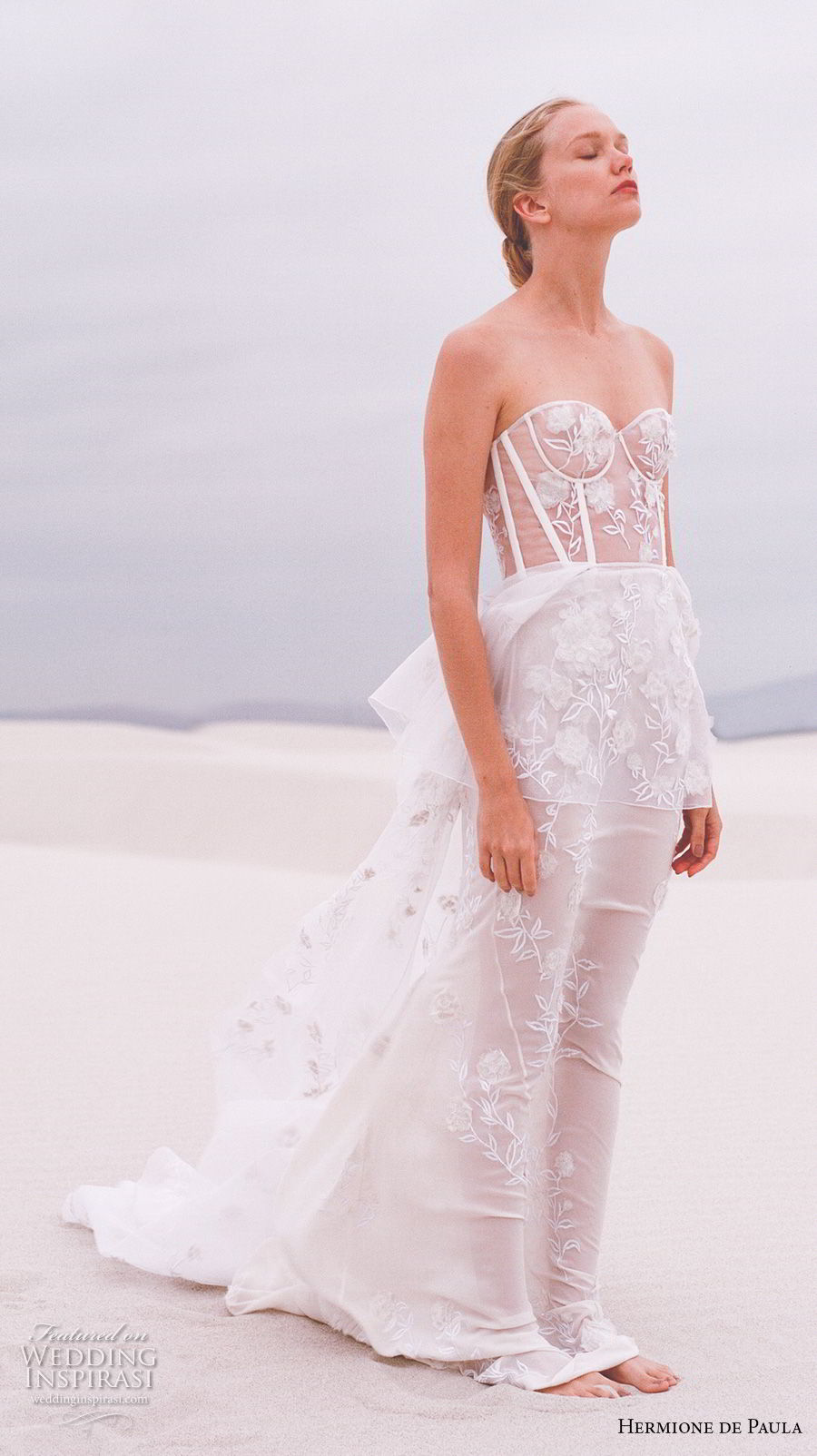 hermione de paula spring 2019 bridal strapless sweetheart neckline full embellishment bustier sexy romantic soft a line wedding dress sweep train (2) sdv
