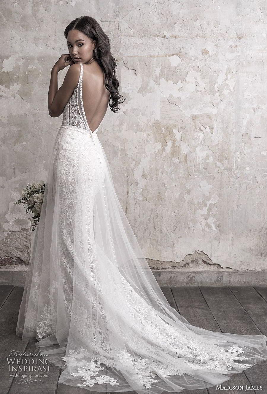 madison james fall 2018 bridal sleeveless thin strap deep sweetheart neckline full embellishment tulle skirt romantic soft a line wedding dress open back chapel train (3) bv