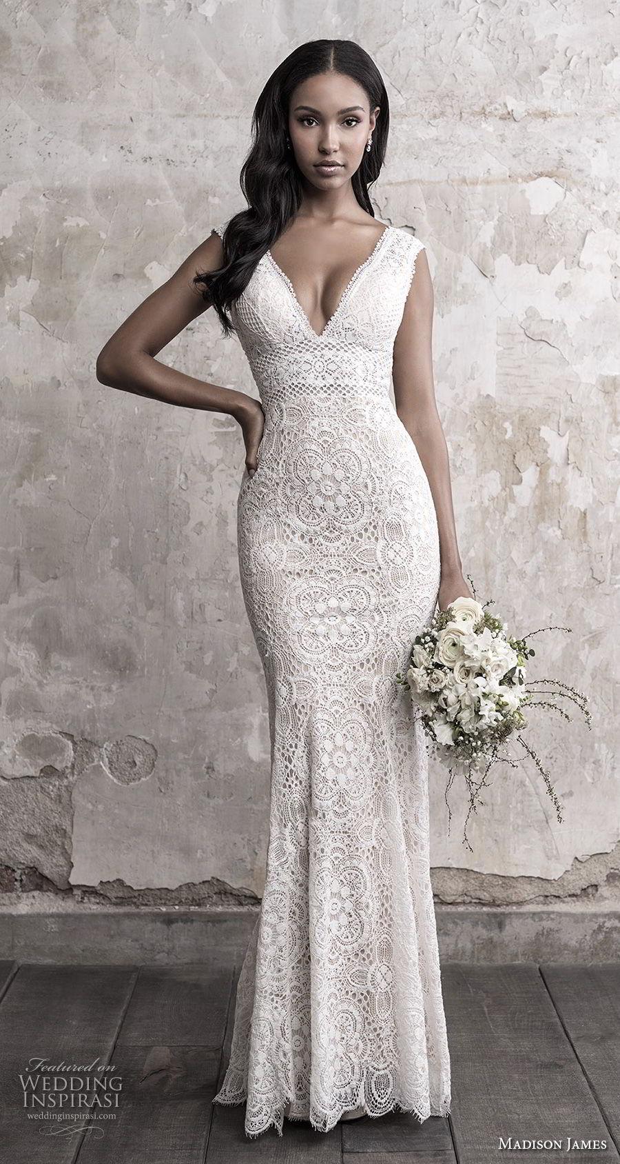 madison james fall 2018 bridal sleeveless v neck full embellishment elegant sheath fit and flare wedding dress open back chapel train (2) mv