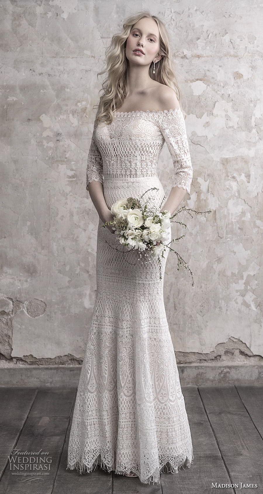 madison james fall 2018 bridal three quarter sleeves off the shoulder full embellishment elegant vintage fit and flare sheath wedding dress lace back sweep train (1) mv
