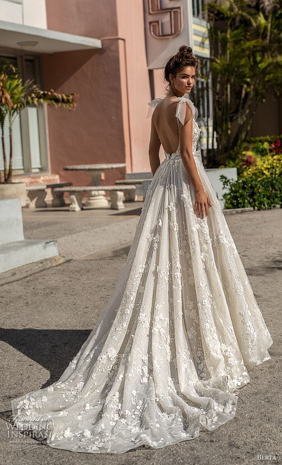 berta spring 2019 bridal sleeveless with ribbon straps deep plunging v neck full embellishment romantic a line wedding dress open scoop back chapel train (2) bv
