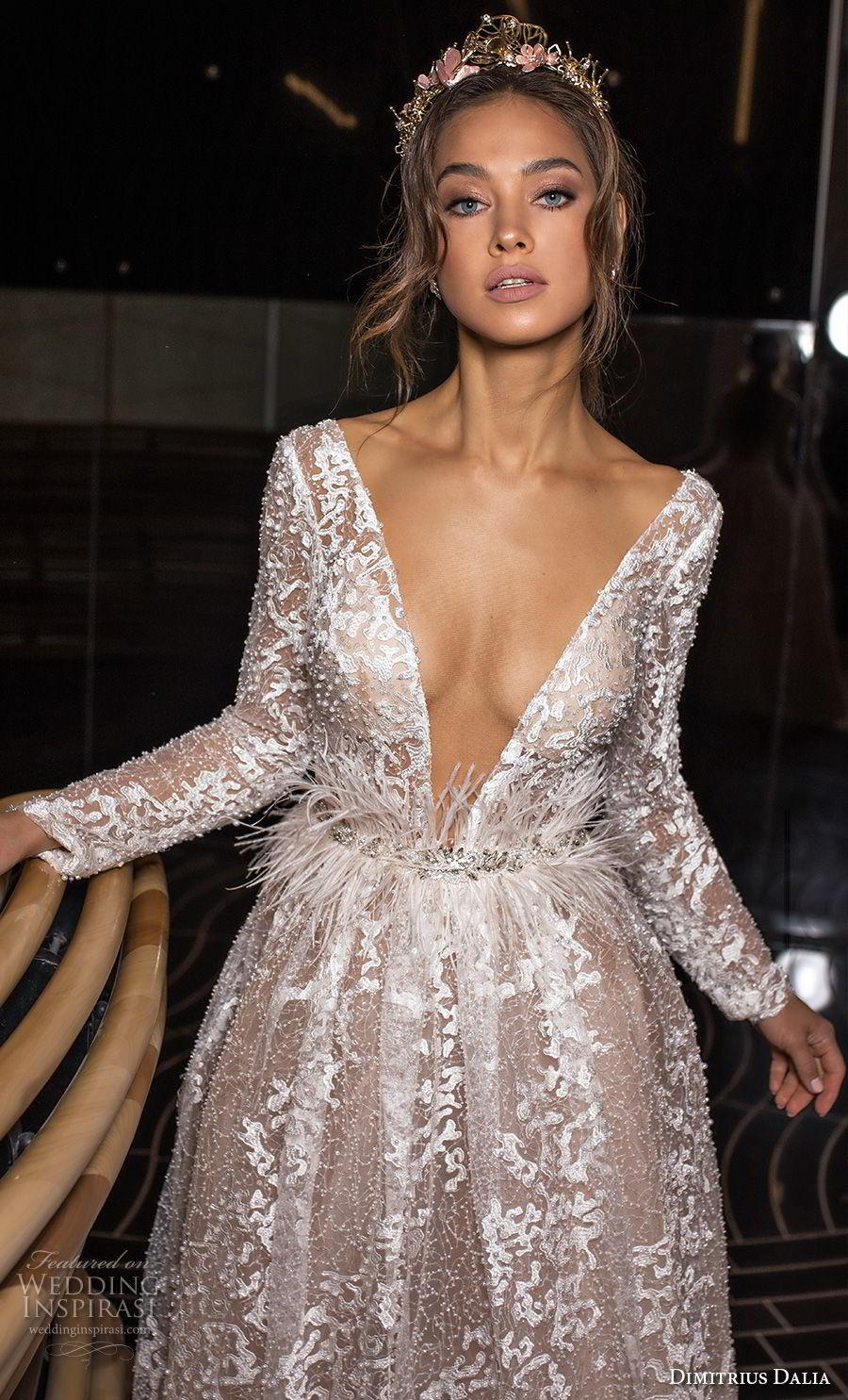 dimitrius dalia 2018 royal long sleeves deep v neck full embellishment sexy glamorous a line wedding dress low open back (2) zv