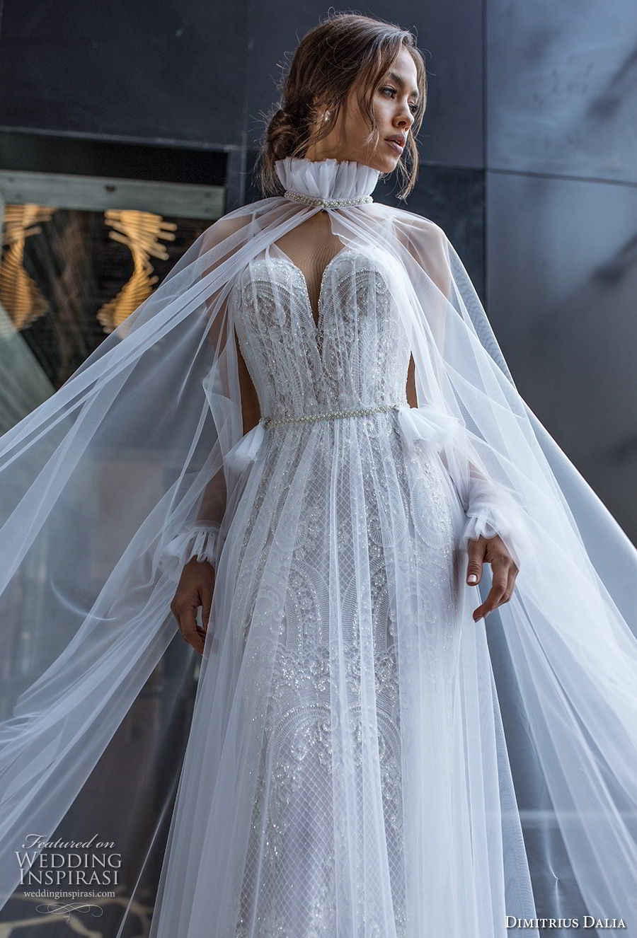 dimitrius dalia 2018 royal long sleeves sheer strap v neck full embellishment romantic a line wedding dress with cape chapel train (1) zv