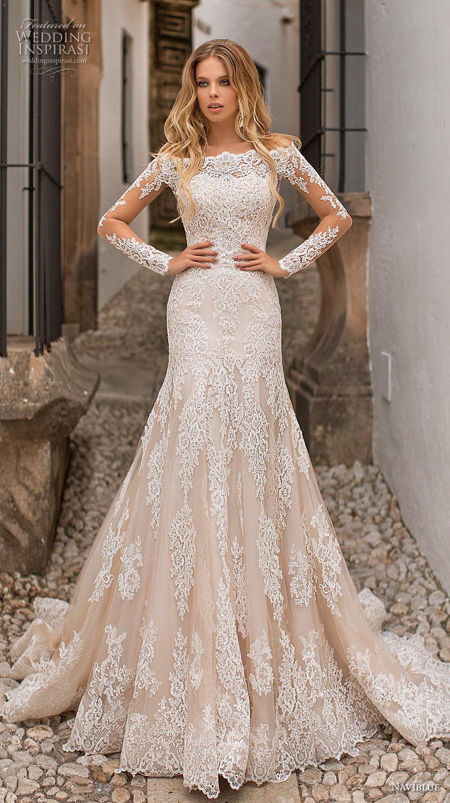 naviblue 2019 bridal long sleeves bateau neck full embellishment drop waist champagne a line wedding dress lace back chapel train (5) mv