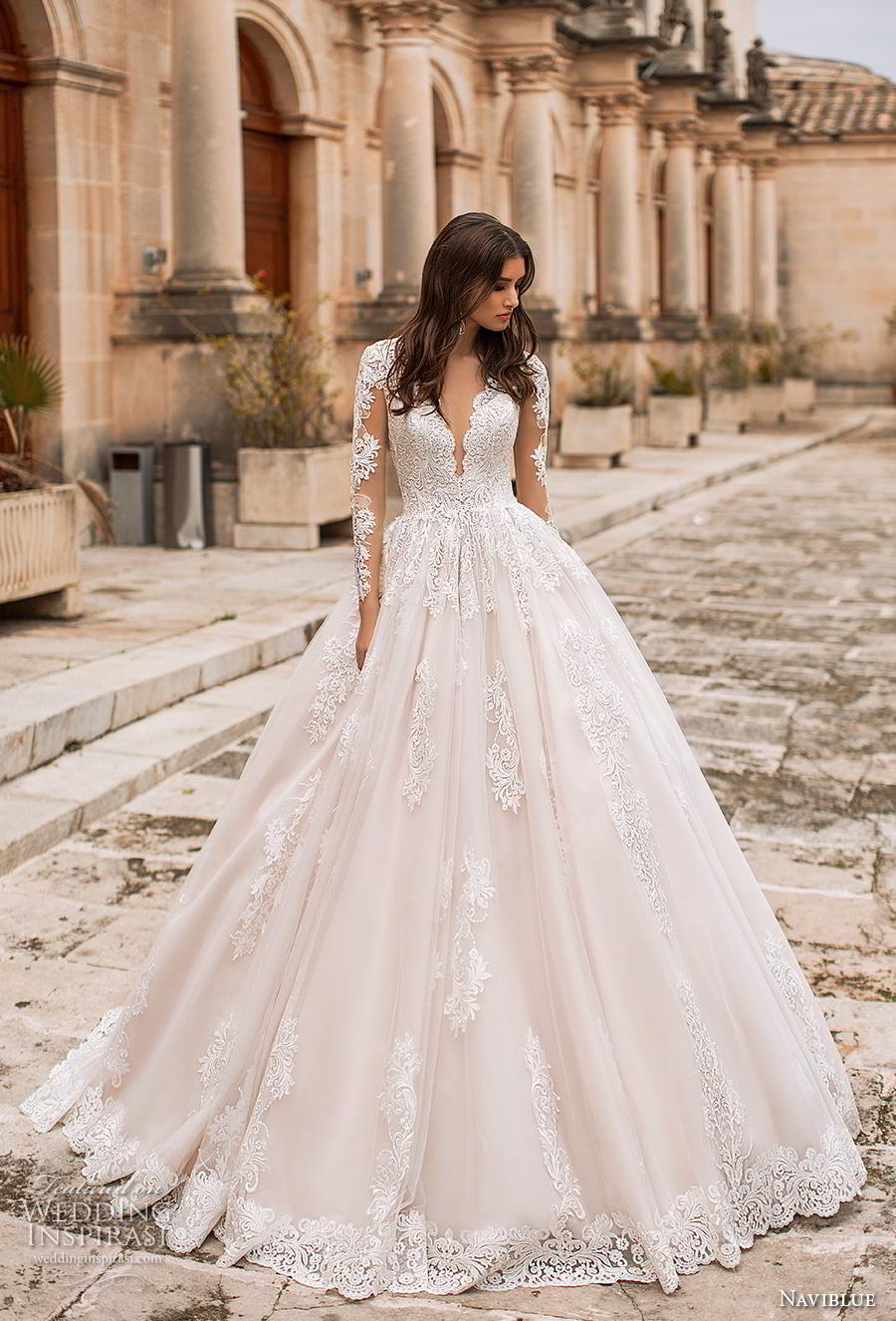 naviblue 2019 bridal long sleeves deep plunging v neck heavily embellished bodice princess romantic a line wedding dress sheer button back chapel train (7) mv