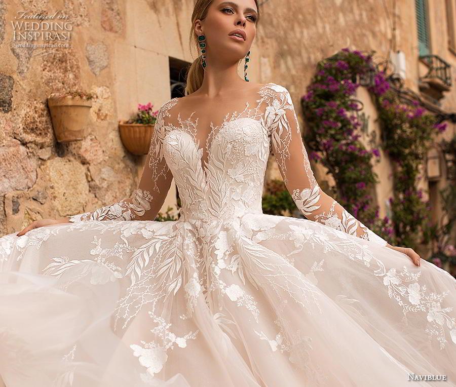 naviblue 2019 bridal long sleeves deep sweetheart neckline heavily embellished bodice romantic glamorous blush a line wedding dress sheer button back chapel train (13) zv